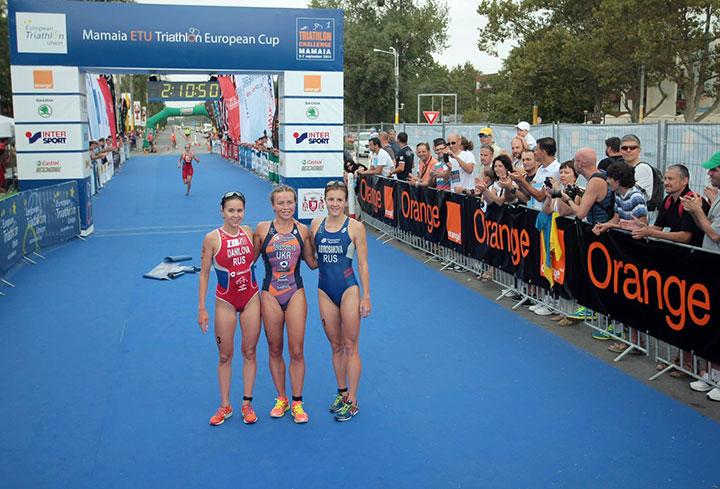Mamaia ETU Triathlon European Cup - podium feminin la finish