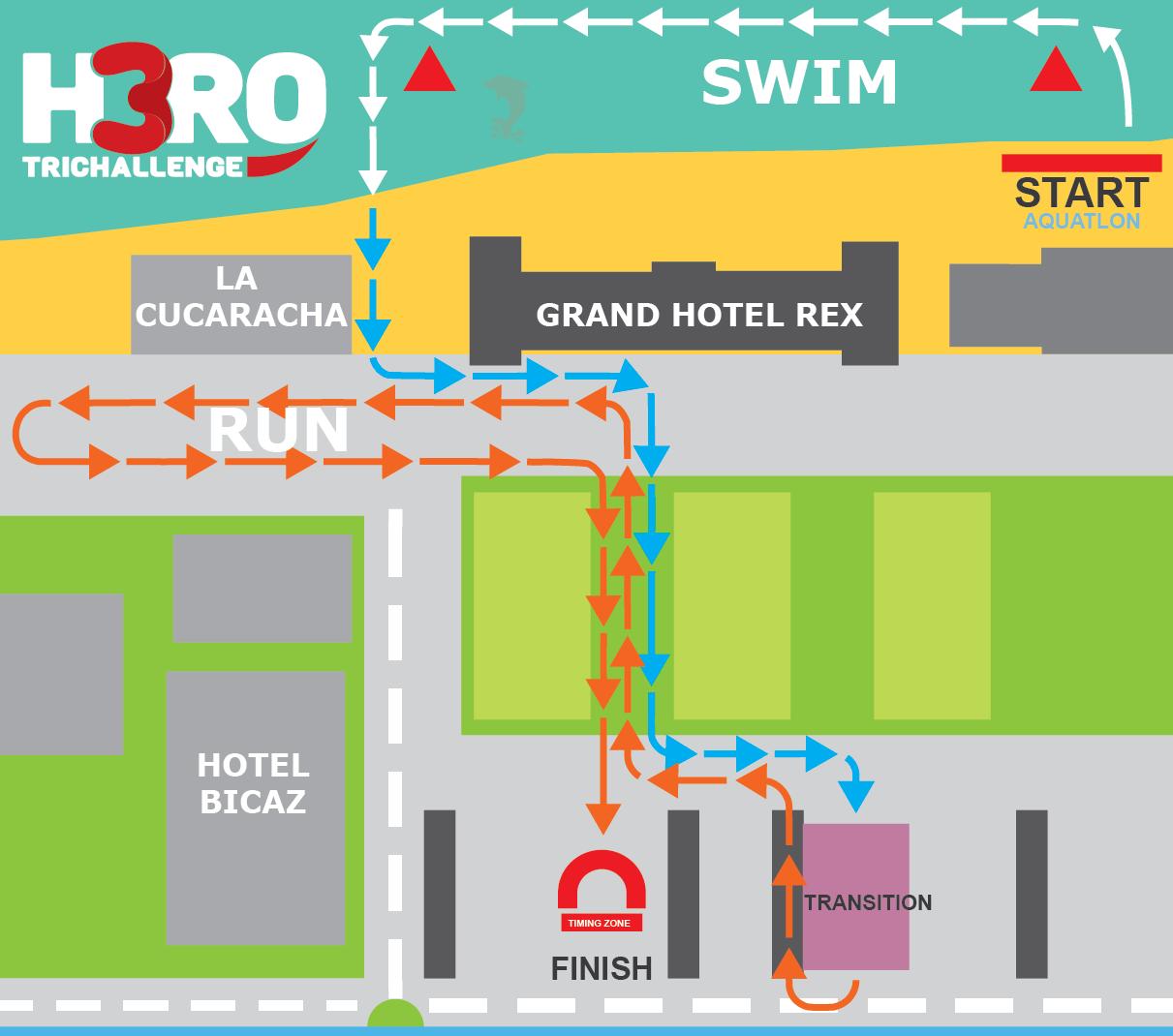 H3RO by TriChallenge 2019 - hartă concurs aquatlon